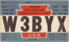 QSL FRANKFORD RADIO CLUB UNITED STATES USA RADIO AMATORI CARD 1966