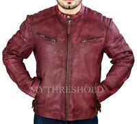 New Mens Biker Vintage Motorcycle Classic Diamond Cafe Racer Leather Jacket