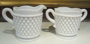 Vintage Milk Glass Open Double Handle Sugar Bowl & Creamer Bubbles Sturdy Set