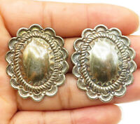 CAROLYN POLLACK 925 Silver - Vintage Wavy Trim Button Stud Earrings - E5511