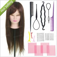 """24"""" 50% Real Hair Doll Training hairdressing head mannequin practice Braid Tool"""