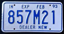 "INDIANA "" NEW CAR DEALER - 857 M 21 "" 1993 IN Vintage Classic License Plate"