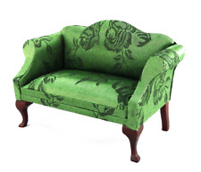 Dolls House Green Brocade & Mahogany Queen Ann Sofa Living Room Furniture