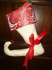 Medias de Navidad Bufón-pequeña, de color blanco con puño Paisley Rojo Metálico
