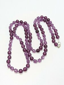 Purple Frosted Round Bead Square Acrylic Long Knotted Necklace 46 Inches