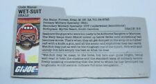 Wet Suit 1986  File Card  GI Joe Vintage DC