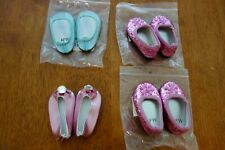 """Lot 4 Pair Dress Shoes Slippers Flats Blue Pink American Girl 18"""" Dolls NEW RARE"""