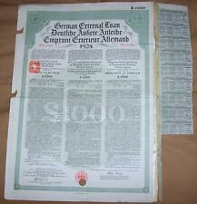 Original Germany Sterling Loan 1924 Bond 7% UK GB issue £1000 Daves coupons