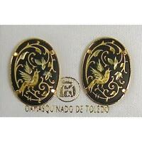 Damascene Gold Oval Dove of Peace Design Stud Earrings by Midas of Toledo Spain