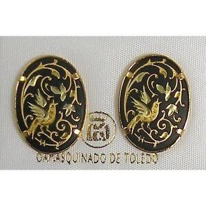Damascene Gold Oval Dove of Peace Design Stud Earrings by Midas of Toledo Spain