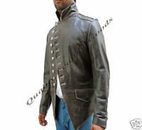 Genuine Handmade Mens Military Style Antique Brown Leather Steampunk Jacket BLUF