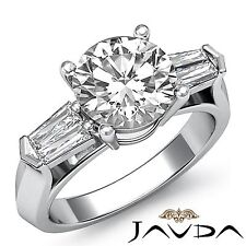 Round Channel Set Diamond Engagement 3 Stone Ring GIA F SI1 14k White Gold 1.5ct