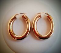 Large & Beautiful 14K Hoop Earrings Highly Polished Yellow Gold