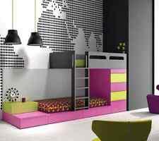 Komplett Kinderzimmer mit Etagenbett Leiter Schubkasten Kleiderschrank Lounge