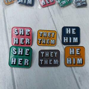 PRONOUN LAPEL PIN BADGE - They/Them, He/Him, She/Her, LGBTQ+ badges