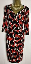SAVOIR Dress Size 12 Used Shift Pencil Red Black Sweetheart Neck Drapes Evening