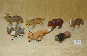 7x VINTAGE SAFARI LTD TOY ANIMALS CARIBOU WOLF LYNX BROWN BEAR RED FOX MUSK OX