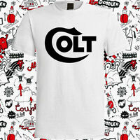 New Colt Firearms Gun Logo Men's White T-Shirt Size S to 3XL