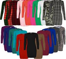 Womens Ladies Plain Stretch Mini Bodycon Dress Tunic Top Jersey Full Sleeve 8-22