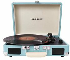 Crosley CR8005A-TU Cruiser Portable 3 Speed, Belt Driven Turntable Turquoise New