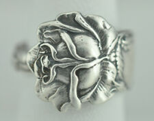 Beautiful 925 Sterling Silver Large Rose Flower Spoon Ring