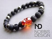 Men Hematite/Lava Skull Bracelet with Swarovski Red Crystal 7-8inch Elasticated