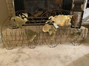 "CURTIS JERE ""SIGNED""  Metal Art Sculpture World Globe Map. 1971"