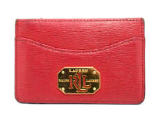 Ralph Lauren Authentic Womens Leather Card Wallet Holder Red