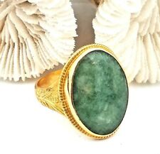 Antique 1800's Chinese 22 Karat Yellow Gold Natural Green Jade Ring, Signed.