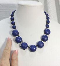Vintage Blue Semi-Globe Bead Statement Necklace