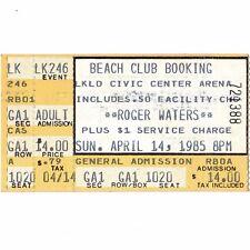 ROGER WATERS Concert Ticket Stub LAKELAND FLORIDA 4/14/85 CIVIC PINK FLOYD Rare