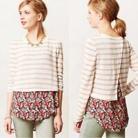 Anthropologie Postmark Women's Size M Ginny Mixed Media Pullover Sweater