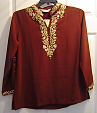 Women's XL Cocoa Brown Gold Sequin Embellish Indian Style Long Sleeve Tunic NWT