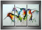 ARTLAND Hand Painted Framed Wall Art Colorful Birds 3-Piece Oil Painting 28 x 42