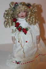 """Rare Beautiful 14"""" Patricia Rose Porcelain Doll W/stand Blonde Curls Blue Eyes"""