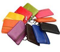 Key Soft Men Women Card Coin Holder Zip Genuine Leather Wallet Pouch Bag Purse T