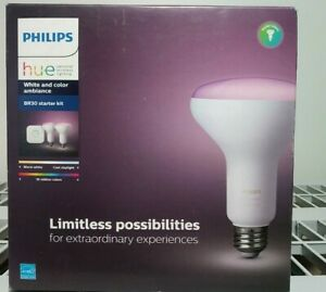 NEW Philips Hue BR30 Starter Kit White and Color Ambiance (2 Bulbs 1 Bridge