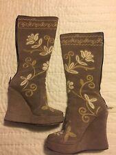Zeyzani Tan Embroidered Soft Leather Boots Zip Wedge/Platform EURO 37