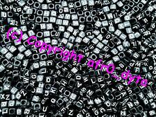 100 Black Alphabet Mixed Letters Cube Beads 6mm