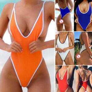 Sexy Womens Solid One-Piece Swimwear High Cut Thongs Leotard Lingerie Bodysuit