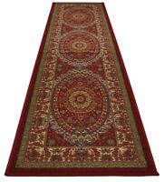 Anti bacterial Red Persian Isfahan Medallion Non Slip Runner Rug 2'x7', 2 x 7