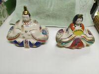 Vintage Japanese Hand-Painted Gilt Geisha Samurai Figurines Signed