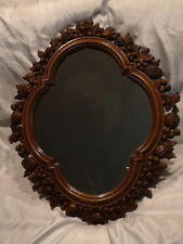 Collectible Beautiful Syroco Mirror 30� x 25� Brown Frame Nuts, Seeds, Leaves