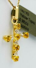 YELLOW TOPAZ 1.39 Cts & WHITE SAPPHIRE CROSS PENDANT 14K GOLD * New With Tag *