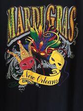Mardi Gras Sz XL Mens T Shirt Black Cotton New Orleans Party Mask Short Sleeve