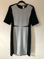 COS Black Grey Panel Bodycon Fitted Dress Stretch Size 10 /38 A0704