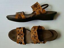Munro American Walking Wedge 9045 Comfort Sandals Brown Beige Circles Leather 11