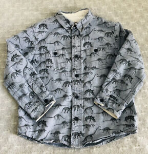 Fatface Age 4-5 Year Chambray Pale Denim Blue Dinoseur Print Button Up Shirt VGC