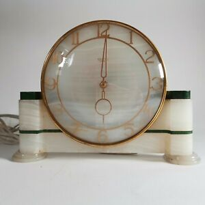 Vintage Art Deco Smiths Sectric Marble and Brass Mantel Clock