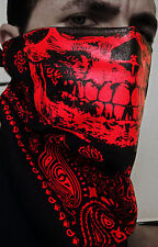 RED SKULL BLACK TRAINMEN PAISLEY BANDANA HALF FACE MASK CALAVERA DUBSTEP HIPHOP